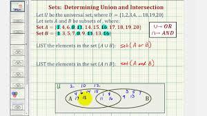 Union And Intersection Of Sets Venn Diagram Ex Find The Union And Intersection Of Two Sets Using A Venn Diagram