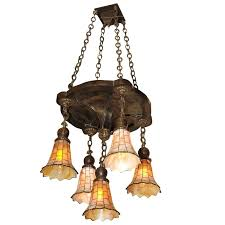 arts and crafts chandelier with fabulous slag glass shades arts and crafts chandelier