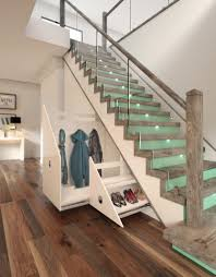 Stair Renovation Solutions Duck Egg Coloured Risers With Led Tread Lighting Make This Space
