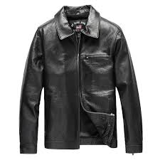 new men s vintage leather men leather jacket western lapel leisure slim loose increase cow leather motorcycle