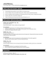 Restaurant Resume Template Restaurant Server Resume Jesse Kendal Impeccable Restaurant 91