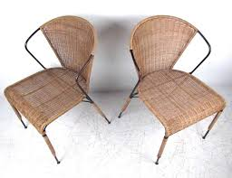 Set Of Mid Century Modern Wicker Seat Umanoff Style Dining Mid Century Wicker Lounge Chair