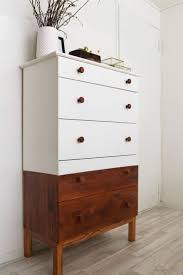 ikea tarva dresser hack. Half-stained And Half Painted White Tarva Dresser With Stained Knobs Ikea Hack K