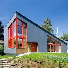 Paul Michael Davis Design Red Window Frames Accent Angular Seattle House By Stettler