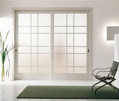 awesome interior pocket sliding glass doors with glass frosted panels and white wooden frame also stylish black chair on green rug besides with glass plant