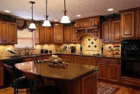 Wooden Kitchen Furniture Furniture Brown Wooden Kitchen Cabinet And Beige Granite