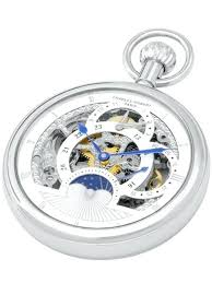 mechanical dual time pocket watch with sun moon dial display wooden stand pocket watch display