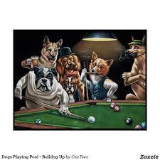 dogs playing pool bulldog up poster