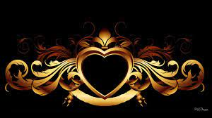 Gold Heart On Black wallpaper