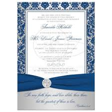 christian wedding invitation royal blue, silver damask printed Wedding Invitation For Christian best christian wedding invitation in royal blue and silver damask with cross and bible verse christian wording for wedding invitation