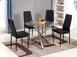 more views selina chrome round glass dining table and 4 black montero dining chairs