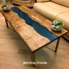 <b>River table</b> slabs of chestnut with potting epoxy resin. #loft ...