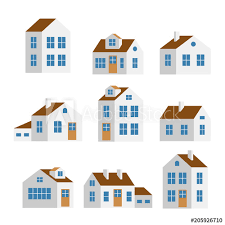 Small And Big White Flat Cartoon Houses Isolated Vector Set