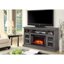 freestanding electric fireplace tv stand dark weathered gray