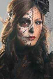 image result for dia de los muertos makeup half face eyes only