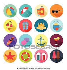 Summer Icons Beach Summer Icons Clip Art K33516847 Fotosearch
