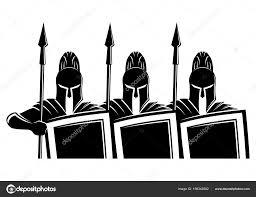 спартанец эскиз спартанцы щитами и копьями векторное изображение