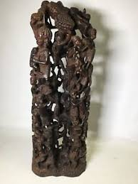 Vintage Artistic Hand Carved Wooden African Art Family Tree Of Life