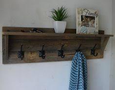 Distressed Wood Coat Rack Farmhouse Coat Hanger From Pallet Wood Coat hanger Wood projects 15