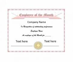 Performance Certificate Sample Certification Of Employment Sample Employee Of The Month