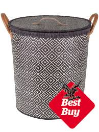 A compact basket, this one stands 44cm high and is made from palm leaves.  The tan, leather-look handles are a nice contrast to the navy basket weave  which ...