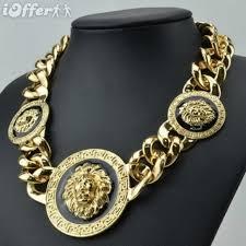 gold lion head medallion trio necklace style