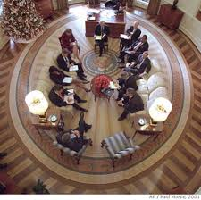 bush oval office. President Bush Hosts A Meeting In The Oval Office Decorated With New Presidential Rug