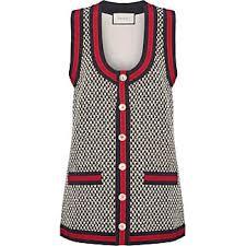 gucci vest. gucci grosgrain-trimmed cotton-blend tweed vest - ivory
