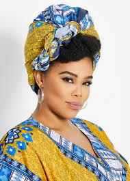 Designer Head Wraps Lyst Ashley Stewart Yellow Blue Printed Headwrap In Blue