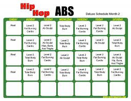 Hip Hop Abs Workout Chart Hip Hop Abs Schedule Deluxe Month 2 Hip Hop Abs Hip