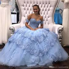 Light Blue Semi Dress Light Sky Blue Modest Lace Ball Gown Quinceanera Prom Dresses Sequins Beaded Applique Tulle Off The Shoulder Formal Party Sweet 16 Dress Semi Formal
