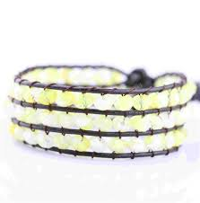 faceted round yellow crystal beads 3 wrap leather bracelets for girls