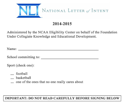 Sample National Letter Of Intent Ncaa Letter Of Intent Sample Letters Formats 9