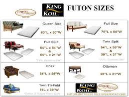 Awesome Futon Bed Size Futon Size Chart 4128 Kowalski