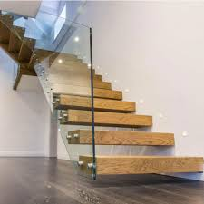 timber steps glass railing modular floating stairs staircase