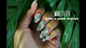 Wah Nail Designs Grid X Palm Leaf Nail Art Wah London