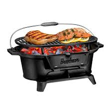 bruntmor pre seasoned charcoal grill bbq outdoor hibachi cast iron grill camping