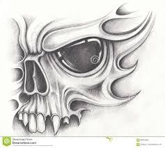 Art Skull Tattoo Stock Illustration Illustration Of Halloween