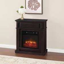 freestanding compact infrared electric fireplace in espresso
