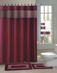 burgundy shower curtain sets. 15pc burgundy fresco bathroom set printed banded rubber backing rug bath mats with fabric shower curtain burgundy sets