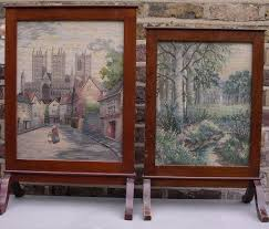 fire screen tapestry wood furniture vintage fire guard