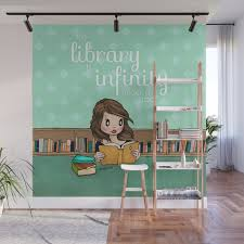 the library is infinity under a roof wall mural