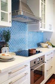 Kitchen:Cool Blue Kitchen Backsplash Ideas With White Colors Cabinets And  Elegant Countertops The New