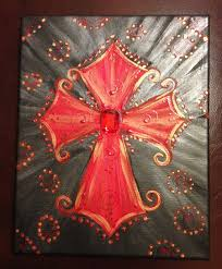 8 x 10 acrylic hand painted red cross on canvas