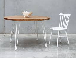 hairpin leg table solid wood top round