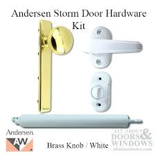 H Door Handles For Storm Doors Hardware Kit Brass Knob Exterior  White Interior Replacement Pella