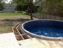image of woodworking above ground pool decks