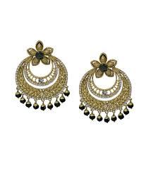 Light Weight Black Beads Kadapatla Lightweight Chandbali Earrings With Black Beads