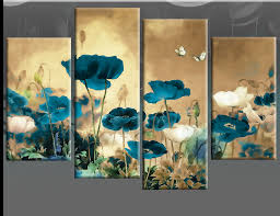 teal and cream to multi field poppies flowers fl 4 panel picture canvas poppy wall art print