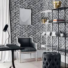 black and white home office. Monochrome Home Office With Bold Geometric Wallpaper Black And White